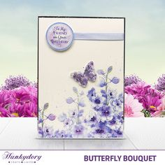 Card made using the 'Blossoming Blues' topper set from the Butterfly Bouquet Collection It's Your Birthday, Birthday Cards, Kanban Cards, Hunkydory Crafts, Crafters Companion Cards, Pipe Cleaner Crafts, Butterfly Cards, Heartfelt Creations, Little Books