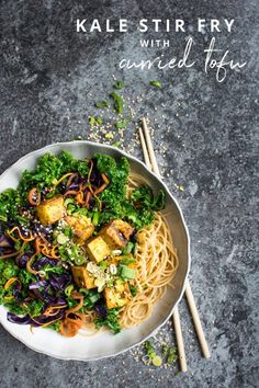 A nutritious kale stir fry with crispy curried tofu, perfect for a quick weeknight fix!