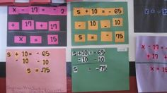 """solving 1 step equations cut and paste activity   """"equation puzzles"""". I printed ALL of the symbols and numbers needed to show all work for a one step equation. Students worked in groups to set up the equation and solution. This was especially good for my kinesthetic learners. The students glued down their equations and then copied it onto the worksheet with the same problem."""