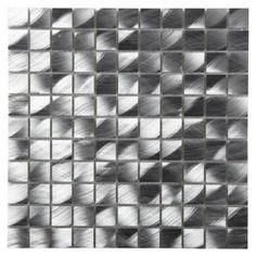Colours Single Brushed Aluminium Mosaic Wall Tile (L)300 x (W)300mm, 5052931054671
