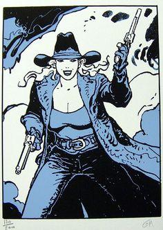 Blue Cowgirl Gunfighter (Limited Edition Print) (Signed) art by Moebius (Jean Giraud) Archive Jean Giraud, Western Comics, Western Art, Manado, Aces And Eights, Moebius Art, Science Fiction, Serpieri, Digital Art