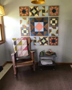"""Prairie Queen Barn Quilts on Instagram: """"I did it! I finally finished my barn quilt wall and I am so in love!!! Life got away from me but it felt so good to create barn quilts…"""" Barn Quilt Designs, Barn Quilt Patterns, Quilting Designs, Woodworking Furniture, Woodworking Ideas, Painted Barn Quilts, Miniature Quilts, Diy Canvas Art, Mini Quilts"""