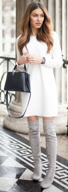 Lydia Lise Millen effortlessly sophisticated little white dress grey thigh high boots minature box bag Louis Vuitton Dress: Club Monaco, Boots: Public Desire, Bag: Louis Vuitton, Watch: Chanel.
