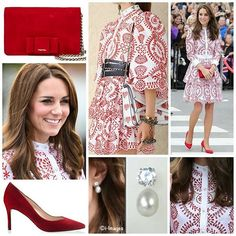 ◇25 September 2016◇ □ Outfit info □  The Duke and Duchess of Cambridge arrived in Vancouver, Canada for some engagements. The Duchess was in bespoke Alexander McQueen, a version of a dress from the Resort 2017 collection. Both the bespoke version and off-the-rack frocks feature a fitted bodice with a contrasting band collar. But then the designs diverge: the billowing open sleeves with their wide silhouettes have been removed, replaced with a longer, more standard (fitted) sleeve shape…
