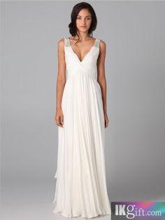 Fashion A-line V-neck Beading Sleeveless Floor-length Chiffon Dress - Wedding Dresses - Wedding & Events