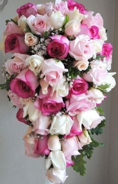 Beautiful Cascading/Teardrop Wedding Bouquet Arranged With: White, Pink, & Hot Pink Roses, White Gypsophila (Baby's Breath), & Green Foliage~~~~ Cascading Wedding Bouquets, Cascade Bouquet, Bridal Flowers, Flower Bouquet Wedding, Floral Bouquets, Floral Wedding, White And Pink Roses, Flower Arrangements, Marie
