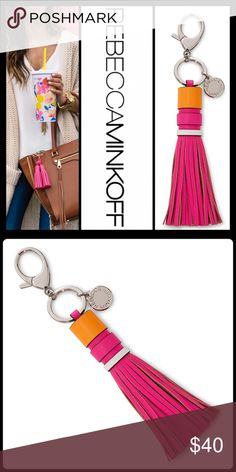 """$30FLASH SALE FLAMINGO TASSEL KEY FOB A chic key ring made with polished hardware and a flippy leather tassel adds contemporary flair to your keys or clips onto your favorite handbag for a trend-right touch. 8 3/4"""" length; 1"""" width Leather PRICE IS FIRM UNLESS BUNDLED   2+ BUNDLE=SAVE  ‼️NO TRADES--NO HOLDS   Brand Authentic  ✈️ Ship Same Day--Purchase By 2PM PST   USE BLUE OFFER BUTTON TO NEGOTIATE   ✔️ Ask Questions Not Answered In Description--Want You Yo Be Happy! Rebecca Minkoff…"""
