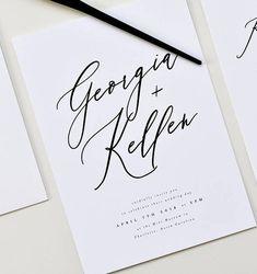 elegant black and white spring wedding invitations/ minimalist spring wedding invitations