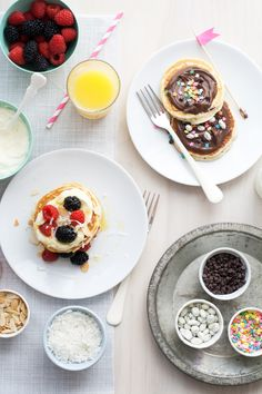 Celebrate back to school with a delicious Pancake Bar full of fun ideas & toppings. Pancake Bar, Pancake Breakfast, Breakfast Recipes, Crepes And Waffles, Tasty Pancakes, Candy Recipes, Dessert Recipes, Yogurt Covered Raisins, Fun Ideas
