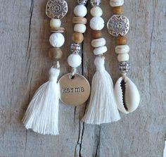 beachcomber key chain accessory white bohemian tassel choose cowrie shell or karma charm by beachcombershop