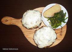 Cogumelos Portobello recheados com Alheira Picante