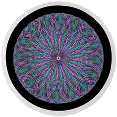 Pink blue green yarn blouse Round Beach Towel by Lenka Rottova. The beach towel is in diameter and made from polyester fabric. Beach Towel Bag, Pink Blue, Blue Green, Summer Essentials, Towels, Mandala, Turquoise, Technology, Abstract