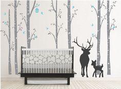 Birch Decal with Buck, seven birch trees decals, Buck decal, Nursery Birch Trees,christmas deer tree decal,wall sticker,kids