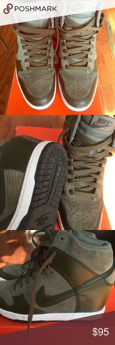 finest selection f3d38 5c323 Nike women s dunk sky hi olive Nike sky hi wedge sneakers in olive green.  Super