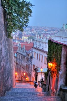 Evening at The Castle Steps, Prague, Czech Republic