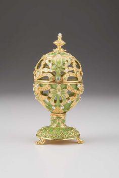 Green Faberge Egg Handmade Trinket Box Decorated with Swarovski Crystals