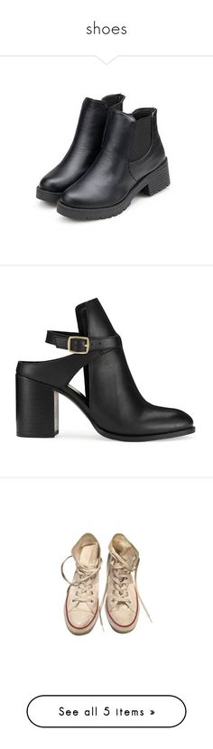 """""""shoes"""" by jjuunnee ❤ liked on Polyvore featuring shoes, boots, black, newchic, black low heel boots, black slip-on shoes, black shoes, leather slip-on shoes, black pull on boots and heels"""
