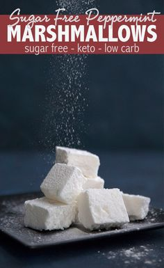 (Erythritol And Xylitol) Keto Marshmallow Recipe! Homemade sugar free marshmallows are easy to make and so fun to eat. These keto friendly treats are perfect in hot chocolate and delicious on their own. And they are almost completely carb free! Low Carb Candy, Keto Candy, Low Carb Deserts, Low Carb Sweets, Sugar Free Recipes, Low Carb Recipes, Recipes With Marshmallows, Homemade Marshmallows, Best Dessert Recipes