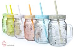 Bake in | Pastel Drinking Jars with Straws www.bakein.pl