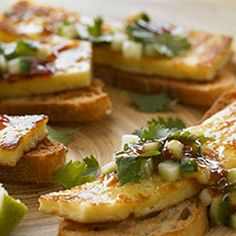Try this Panfried Haloumi with Chilli Cucumber Salsa recipe by Chef Naomi Crisante.