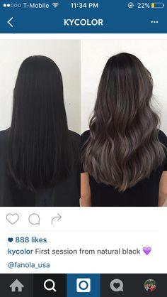 ash & charcoal tones on virgin black hair