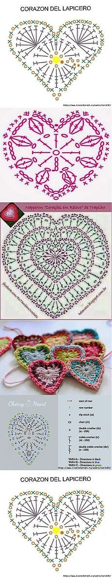 32 Ideas For Crochet Heart Motif Simple Crochet Diagram, Freeform Crochet, Crochet Chart, Crochet Motif, Crochet Designs, Crochet Doilies, Crochet Flowers, Crochet Lace, Crochet Stitches
