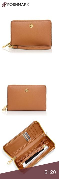 """New Tory Burch York Multi-Task Smartphone Wristlet New Tory Burch York Multi-Task Leather Smartphone Wristlet! Elegant and functional, this wristlet was designed to keep essentials organized.  Not only a wallet, this wristlet also has a compartment for an IPhone 4 or 5. Wrist strap is removable and it has a zip around closure.  It has 8 interior credit card slots, 2 bill pockets, 1 zip compartment and 1 smartphone pocket. Length is 6.10"""". Height is 4.06"""".  The color is 'luggage'. Tory Burch…"""
