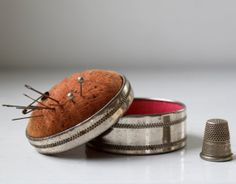 antique 1920s pincushion and sewing box