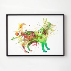 Colorful poster. Dog decor. Animal art.  Printed on high quality art paper.  SIZES:  8.3 x 11.7 (A4) 11.7 x 16.5 (A3)  This print comes without