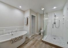 Steve and Angie's Master Bathroom Remodel Pictures Modern Master Bathroom, Hall Bathroom, Modern Bathroom Decor, Bathroom Interior Design, Bathrooms, Bathroom Ideas, Bathroom Remodel Pictures, Home Remodeling Contractors, White Subway Tiles