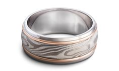 Mokume Game with gold and platinum bands