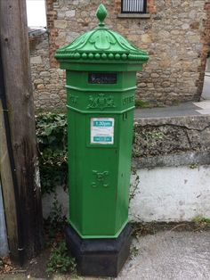 Old Victorian penfold Irish post box from British rule times painted green since independence on Sidmonton road Bray co.wicklow Ireland