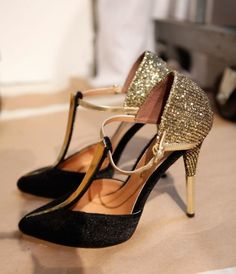Christian Siriano gold and black wedding shoes