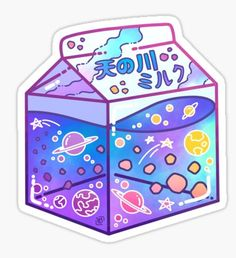 Milky Way Milk Carton Sticker Cute Food Drawings, Cute Animal Drawings Kawaii, Kawaii Art, Anime Stickers, Kawaii Stickers, Cute Stickers, Cute Food Art, Space Drawings, Japon Illustration