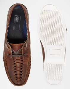 ASOS   ASOS Boat Shoes in Woven Leather at ASOS