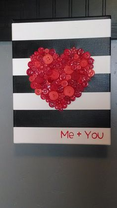 LARGE Me + You Button Heart Decor, Canvas, Valentines Day, Love on Etsy, $20.00