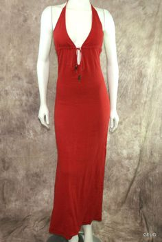 MICHELLE JONAS Sz P/S Rust Cotton Gauze Hippie Halter Tie Maxi Dress Beads