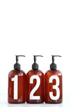 Numbered Shower Bottles