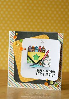 "<p>""Artsy Fartsy"" is a 2x6"" stamp set made of high quality clear photopolymer, proudly manufactured in the USA. It includes 9 stamps [6 images and 3 word/phrases] perfect for a variety of crafty uses. <span style</p>"