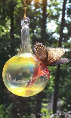 Hummingbird & butterflies Feeder by KennedyGlassStudio on Etsy