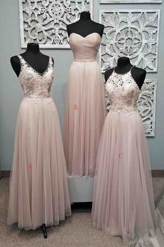 Pink tulle lace prom dress, 2017 long prom dresses