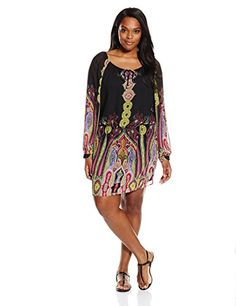Single Dress Women's Plus Size Peasant Boho Dress, Black/-$173.14