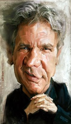 Harrison Ford, by Jeff Stahl by *JeffStahl. Oh Harrison Ford. Harrison Ford, Cartoon Faces, Funny Faces, Cartoon Art, Caricature Artist, Caricature Drawing, Funny Caricatures, Celebrity Caricatures, Portrait Au Crayon