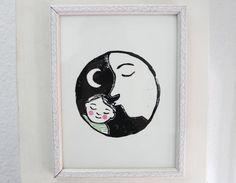 Kinderzimmer Poster Gute Nacht Kuss inneres Kind Druck Linoldruck Babyzimmer Baby Geburt