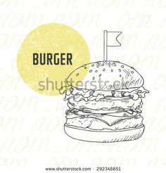 Illustration of hand drawn burger/hamburger/cheeseburger in black and white. Sketched fast food in vector