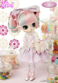 Byul Sucre ANGELIC PRETTY $114.95  - The Anticipated 2nd series, following the popular 1st series  - Perfectly portrays Angelic Pretty's Charm  -Her sugary, carnival sleeveless dress, matches well with lavender  - Her two colored hair curls is a never done before style ★  - Her large magical pony bag is a statement piece