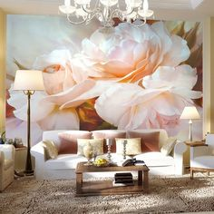 Classic Design Large Pink Floral Peony Print Wall Mural for Walls : Stunning large pink/white color peony floral print wallpaper. High quality non-woven elegant flower wall mural for home or business.