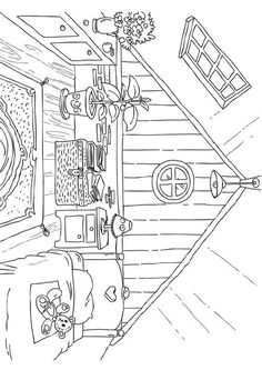 Coloring page attic - img Free Adult Coloring, Adult Coloring Book Pages, Printable Coloring Pages, Coloring Sheets, Coloring Books, Interior Architecture Drawing, House Colouring Pages, Drawing Sheet, Outline Drawings