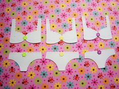 Die Cut Lingerie Panty and Bra Tags Card Toppers 6 pcs. $1.75, via Etsy.