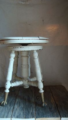 Ivory Piano Stool Vintage ball and claw feet by SaffronColoredPony